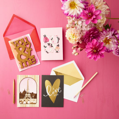 Valentine's Day Cards on pink background