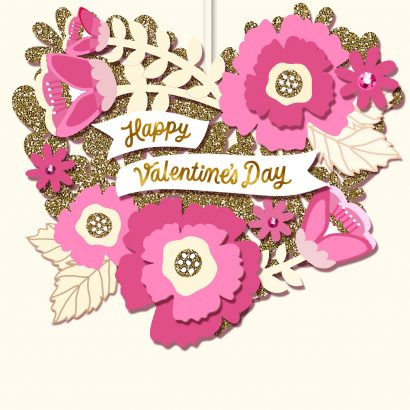 Pink and Gold Glitter Floral Ornament Valentine's Day Card