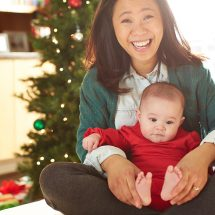 Woman with baby at Christmas