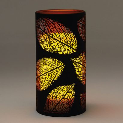Lasered Leaf Candle Holder With Flameless Pillar Candle
