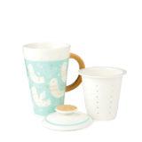 Blue Ceramic Tea Mug with Infuser