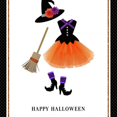 Witch's Clothes Halloween Card