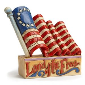 Jim Shore Mini Patriotic Flag Figurine