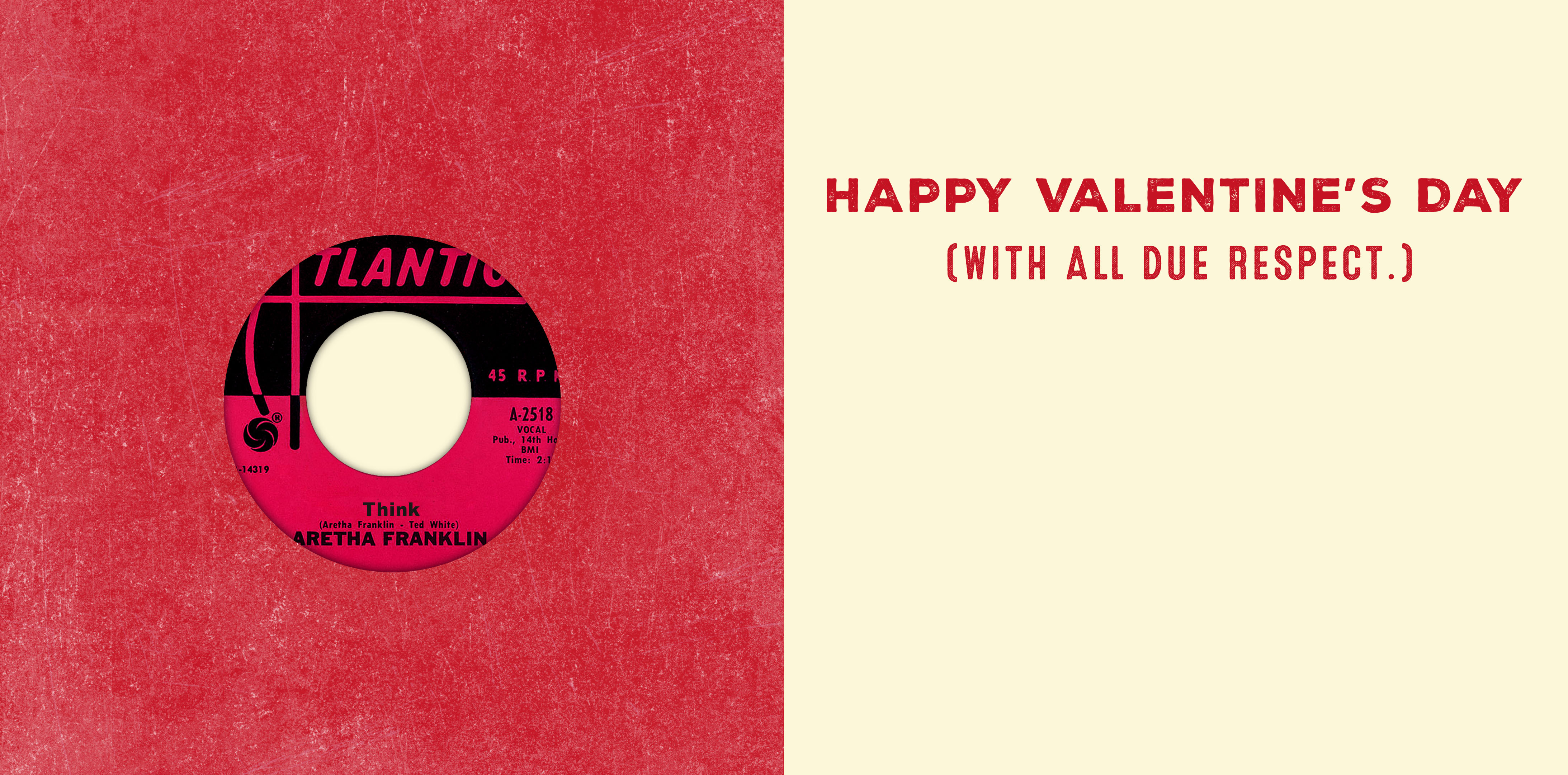 Respect Valentine's Day Card with Vinyl Record – Inside
