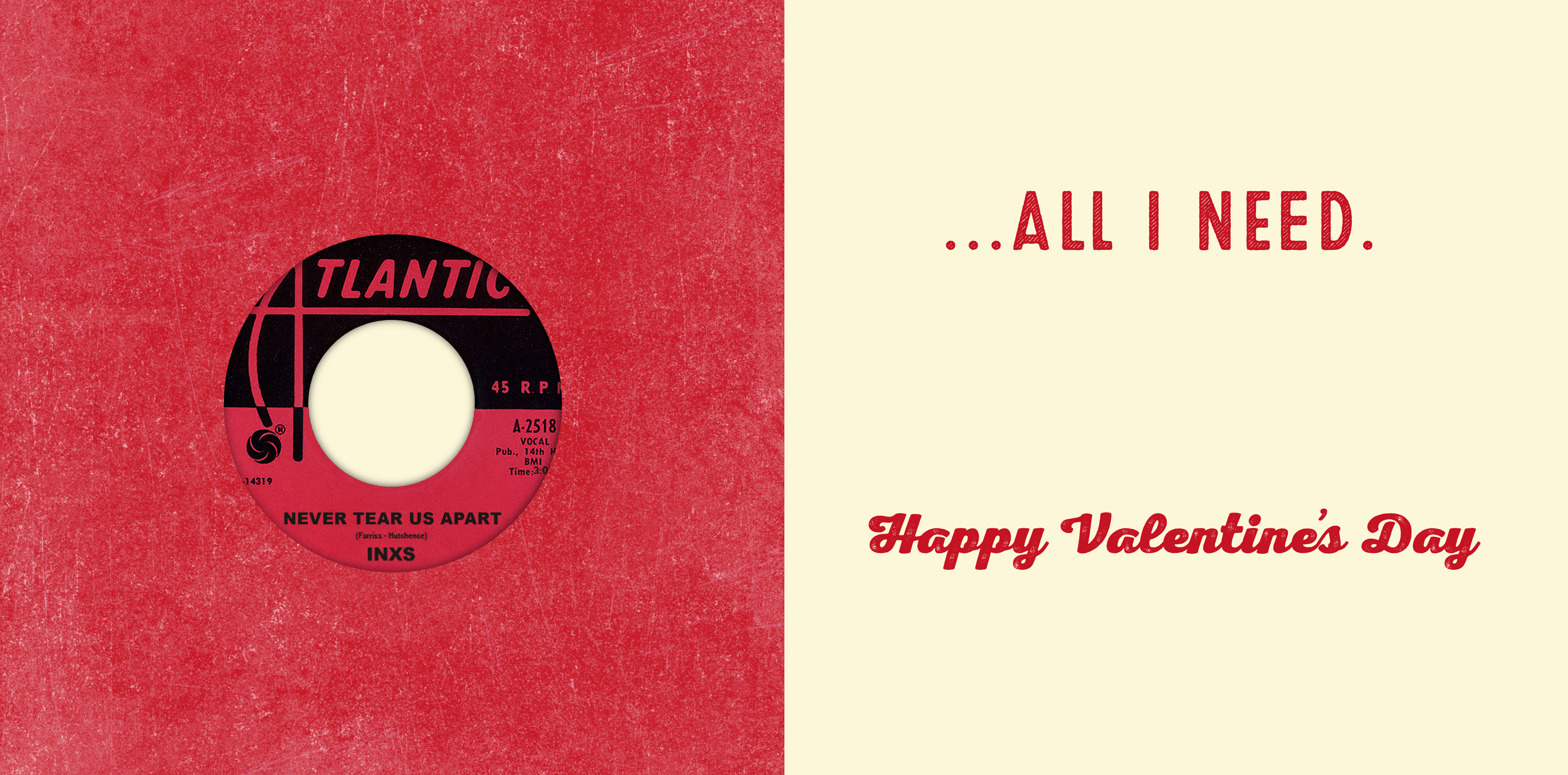 Romantic Valentine's Day Card With Vinyl Record