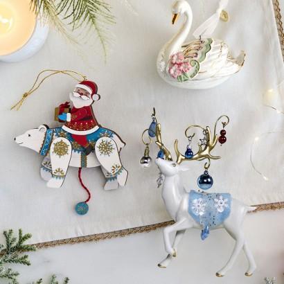 Pull-String Polar Bear and Santa Wood Ornament